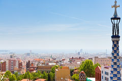 Panorama of Barcelona city from Park Guell Stock Photos