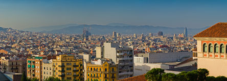 Panorama of Barcelona city Stock Images