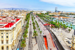 Panorama on Barcelona from Columbus monument. Stock Images