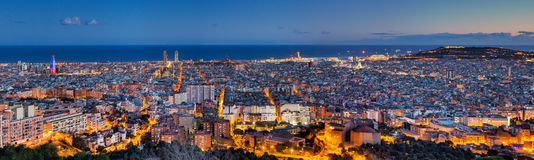 Panorama of Barcelona at dawn Royalty Free Stock Photos