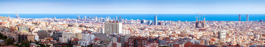 Panorama of Barcelona and Mediterranean Sea in sunny day Stock Photography