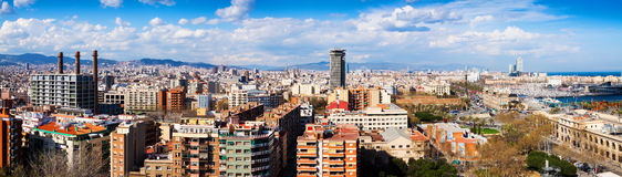 Panorama of Barcelona from Montjuic. Catalonia Royalty Free Stock Photo
