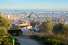 Panorama of Barcelona from park Guel on a sunset. Stock Photography