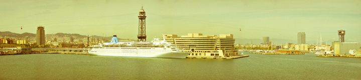 Panorama Barcelona port Fotografia Royalty Free