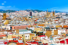 Panorama on Barcelona Seaport from Montjuic castle. Royalty Free Stock Photos