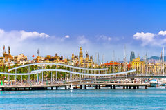 Panorama on Barcelona Seaport Royalty Free Stock Photo