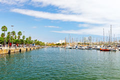Panorama on Barcelona Seaport . Royalty Free Stock Photography