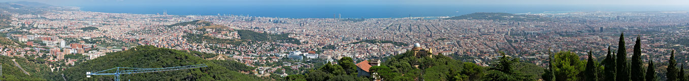 Panorama of Barcelona (Spain) from a platform on Tibidabo's the mountain Royalty Free Stock Photos