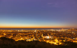 Panorama of Barcelona before sunrise Royalty Free Stock Image