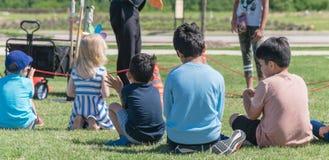 Panorama- barn för bakre sikt för närbild mångkulturella på gräsäng av den utomhus- leken royaltyfri foto