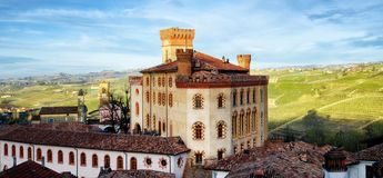 Panorama of Barolo piedmont,Italy. Panorama of Barolo Piedmont, Italy with the town, the medieval castle and the vineyards of Langhe royalty free stock photo
