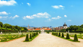 Panorama of baroque park in Belvedere Palace in Vienna, Austria. Royalty Free Stock Photo