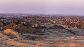 Panorama on barren valleys and canyons, known as `moon landscape`, Namib desert, Namib Naukluft National Park, travel destination. In Namibia, Africa stock footage