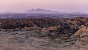 Panorama on barren valleys and canyons, known as `moon landscape`, Namib desert, Namib Naukluft National Park, travel destination. In Namibia, Africa stock video footage