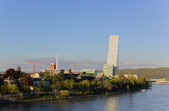 Panorama of Basel with Roche Tower Stock Photo