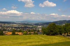 Panorama a Basilea, a Aesch e a Pfeffingen Immagine Stock Libera da Diritti