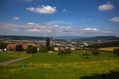 Panorama a Basileia, a Aesch e a Pfeffingen Fotos de Stock
