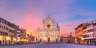 Basilica di Santa Croce at sunrise, Florence Italy. Panorama of Basilica di Santa Croce or Basilica of the Holy Cross at beautiful sunrise in Florence, Tuscany royalty free stock photo