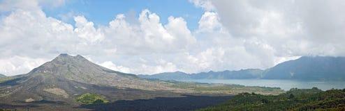 Panorama of Batur volcano landscape Stock Images