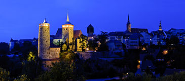 Panorama with Bautzen at night Royalty Free Stock Image