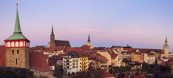 Panorama of Bautzen at sunset Royalty Free Stock Photography