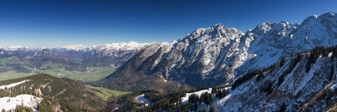 Panorama of the bavarian alps as seen from Rossfeld Panorama roa Stock Photo