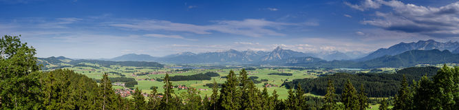 Panorama from bavarian alps. With weissensee, forggensee and füssen during summertime Stock Photos