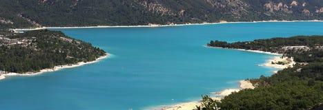 Panorama of bay. Panorama image of a beautiful blue lake Stock Photo