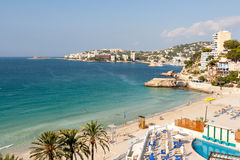 Panorama of the bay with a beach and hotels in Mallorca Royalty Free Stock Images
