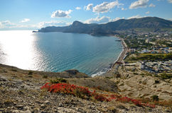 Panorama Bay on the Black sea coast in Crimea, Sudak Royalty Free Stock Images