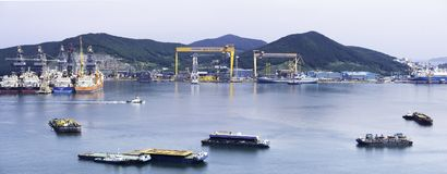 Panorama of the bay of Daewoo Shipbuilding and Marine Engineering DSME in Okpo city royalty free stock images