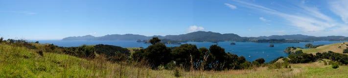 Panorama of Bay of Islands, New Zealand, NZ from Urupukapuka Isl Royalty Free Stock Image