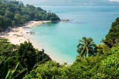 Panorama of bay of Kamala Beach in Phuket Royalty Free Stock Photos