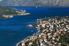 Panorama of the Bay of Kotor in the morning Stock Image