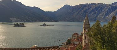 Panorama of the Bay of Kotor royalty free stock images