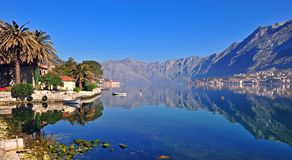 Panorama of the bay of Kotor. Montenegro Stock Photos