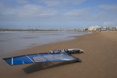 Windsurfing on a beach in Brittany royalty free stock images
