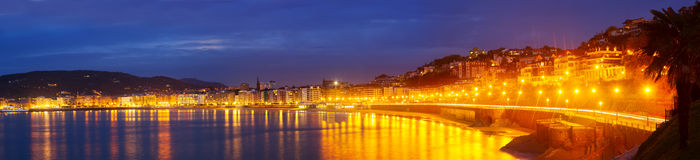 Panorama of Bay of La Concha in  autumn evening at Donostia Stock Image