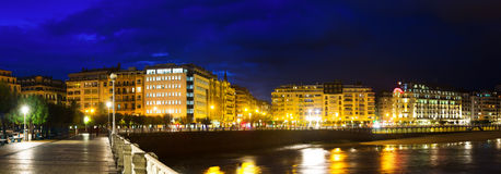 Panorama of Bay of La Concha in   night.  San Sebastian, Spain Stock Images