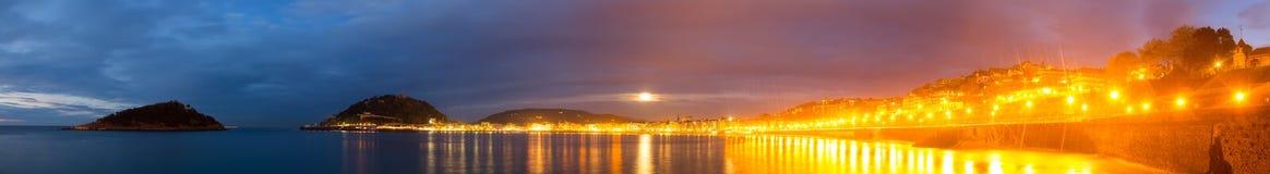Panorama of Bay of La Concha  at San Sebastian Royalty Free Stock Photography
