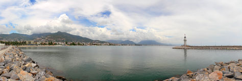 Panorama of bay with lighthouse in Alanya Royalty Free Stock Image
