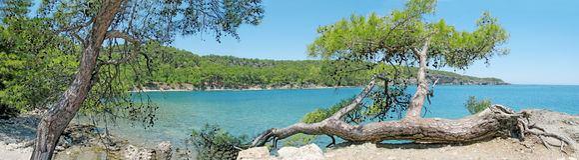 Panorama of bay in mediterranean sea Royalty Free Stock Image