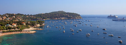 French riviera panorama Prvence Nice Monaco Cannes beach yachts yacht coast cote dazur France famous blue sea sky summer water Royalty Free Stock Images