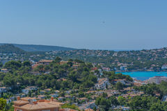 Panorama of the Bay Paguera. Photographed from the mountain in Costa de la Calma royalty free stock images