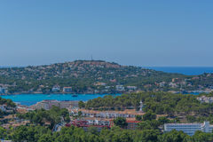 Panorama of the Bay Paguera. Photographed from the mountain in Costa de la Calma royalty free stock photos