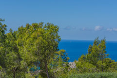 Panorama of the Bay Paguera. Photographed from the mountain in Costa de la Calma royalty free stock photo