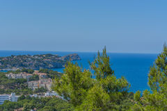 Panorama of the Bay Paguera. Photographed from the mountain in Costa de la Calma stock photo
