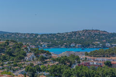 Panorama of the Bay Paguera. Photographed from the mountain in Costa de la Calma stock image