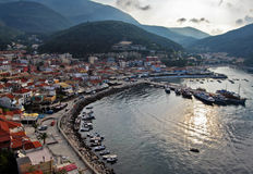 Panorama of bay. View from old castle,Parga city,Greece Stock Photos