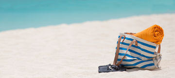 Panorama of beach accessories Royalty Free Stock Images